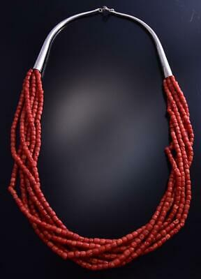 6 Strand Vintage Coral & Silver Necklace 9K24X