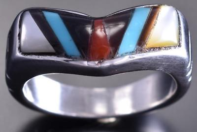 Size 6-1/2 Zuni Inlay ring by Leslie Amy 8I17D