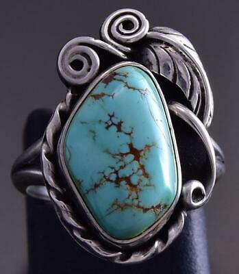 Vintage Size 4-1/4 Silver & Royston Turquoise Side Feather Navajo Ring ZG23R