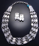 "24"" Silver Turquoise Three Strand Link Necklace & Earring Set Davi Lister 7K07Z"