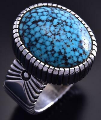 Size 13-1/2 Silver & Kingman Turquoise Navajo Men's Ring by Erick Begay 9K17H