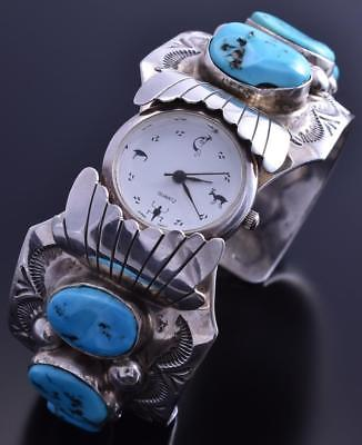 Vintage Silver Sleeping Beauty Turquoise Women's Watch Bracelet by Craig 8A22C