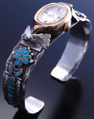 Vintage Silver Turquoise Flowers Zuni Inlay Stamp Design Watch Bracelet 7F30J
