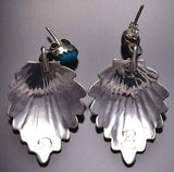 Silver & Turquoise Navajo Stamp Wide Feather Earrings Genevieve Francisco 9B26F