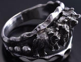 Size 13-1/2 Silver Wolf Pack Men's Ring by Roberta Begay ZE17C