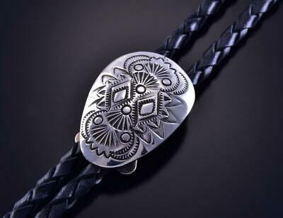 All Silver Hand Stamped Navajo Design Bolo Tie by Shirley Skeets ZK25Q