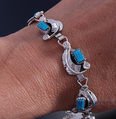 Silver Turquoise Leaves Zuni Link Bracelet by Amy Locaspino 7G18G