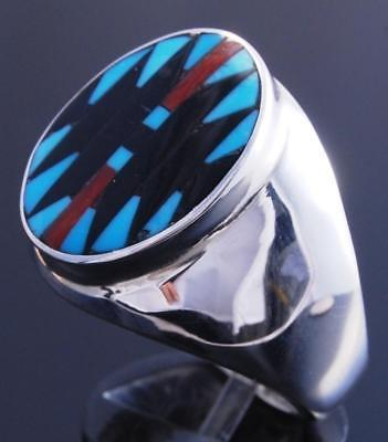 Size 10 Silver Turquoise Multistone Zuni Inlay Men's Ring Charloote Dishta 7K17G