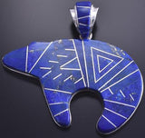 Silver & Lapis Navajo Inlay Softline Bear Pendant by Te Gustine 8D04G