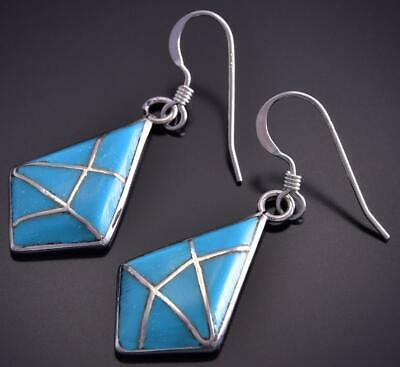 Silver & Turquoise Zuni Inlay Diamond Shape Earrings by Laurie Kallestewa ZG24S