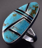 Size 8 Silver & Turquoise Navajo Inlay Long Ring by Sheryl Martinez ZJ17H