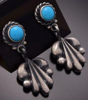 Silver & Turquoise Navajo Grace Shield Earrings by Annie Spencer ZE06R