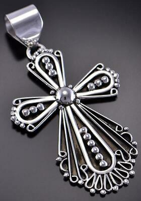 All Silver - All for His Glory - Navajo Cross Pendant by Lorena Nez 1B26X