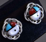 Silver & Turquoise Multistone Zuni Inlay Sunface Earrings by Hardy Paquin 1C17O