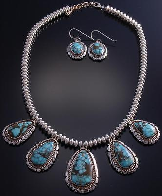 "22"" Silver & Turquoise Five stone Necklace & Earring Set by LMY 7C10G"