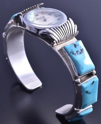 Vintage Silver Sleeping Beauty Turquoise Square Navajo Watch Bracelet 8A08D