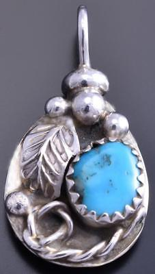 Reversible Silver & Turquoise Bear Claw Small Navajo Pendant by Gary Henry 8E23L