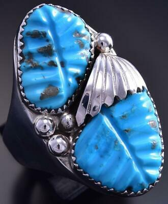 Size 14-3/4 Carved Sleeping Beauty Turquoise Men's Ring by Lyolita Tsattie 9J30Z