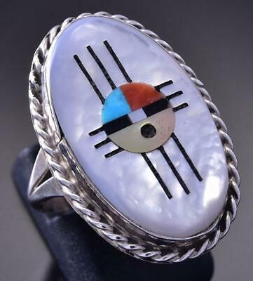 Size 7-1/2 Silver & Multistone Zuni Inlay Sunface Ring by Jeremy Hustito 9L01Y