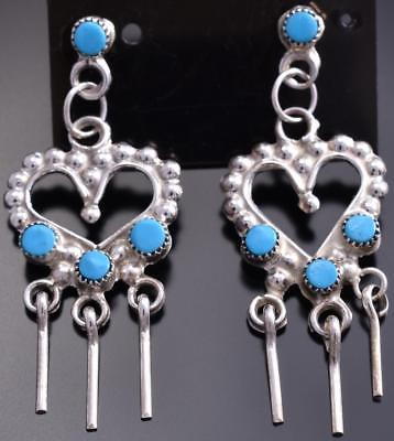 Silver & Turquoise Double Hearts Navajo Made Earrings by Melissa Homer 8G20L