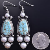 Silver & #8 Spiderweb Turquoise & Fresh Water Pearl Earrings Erick Begay 8H12X
