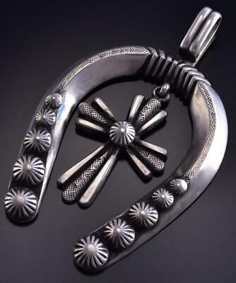 All Silver Navajo Handstamped Cross Horseshoe Pendant by Calvin Martinez ZJ13U