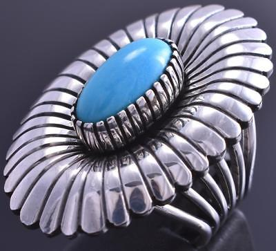 Size 6-3/4 Silver & Turquoise Navajo Handstamp Flower Ring by MB 8F18P
