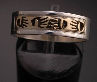 Size 8 -14k Gold & Silver Bear Claw Band Ring by Skeets Navajo 8d13D-5