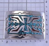 Silver & Turquoise & Coral Navajo Chip Inlay Buckle by Joleen Yazzie 1B26E