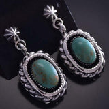 Silver & Turquoise Twisted Rope Design Navajo Earrings by Lee Shorty ZG15N