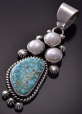 Silver & #8 Spiderweb Turquoise & Fresh Pearl Navajo Pendant Erick Begay ZC19K