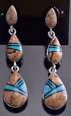 3 Teardrop Picture Jasper & Opal Inlay Earring by Elsie Armstrong 9C20T