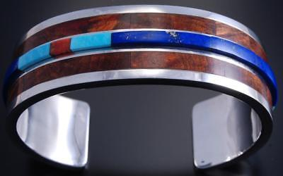 Silver Lapis and Burl Wood Inlay Bracelet by David Kuticka 7H02A