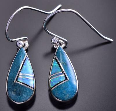 Turquoise and Opal Teardrop Inlay Earrings By Sheryl Martinez 9C21M