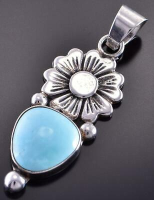 Silver & White Water Turquoise Flower Navajo Pendant by Erick Begay 1C31D