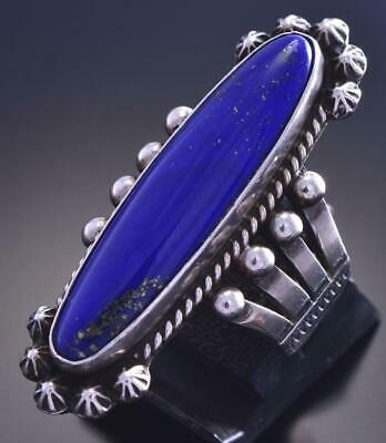 Size 6 Vintage Silver & Lapis w/ Pyrite Navajo Long Ring by G. Reeves 9F06G