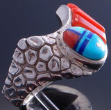 Size 10-1/2 Silver & Turquoise & Coral Navajo Yei Bi Chei Ring by WM 7C27W