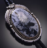 Silver & White Buffalo Turquoise Navajo Bolo Tie by Bette Lee 9M16M
