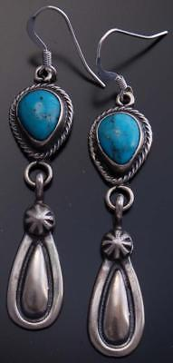 Silver Matte Stamp Turquoise Earrings by RB- TO10P