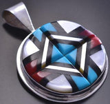 Vintage Silver & Turquoise Multistone Zuni Inlay Round Pendant by Natachu 9A17L