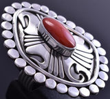Size 7 Silver & Coral Flame Ends Large Face Navajo Ring 8F18N