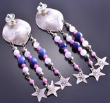 Vintage Long Silver, Sugilite and Star Earrings 8K17O