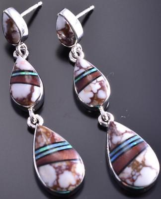3 tier Wildhorse Magnesite Inlay Earrings by Elsie Armstrong 8I02Z