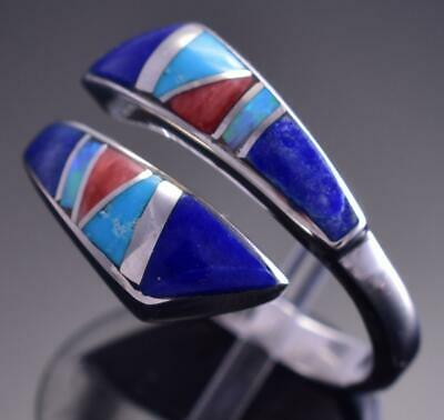 Adjustable Silver & Turquoise Multistone Navajo Inlay Wrap Ring by JB 9C29G