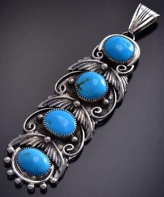 4 Sleeping Beauty Turquoise Stone Leaf Pendant by Angie Platero 9J25U