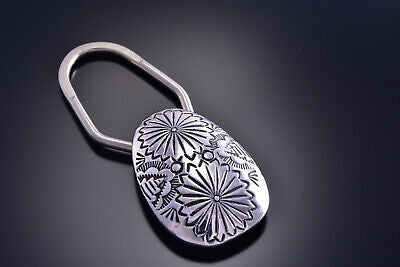 Silver Handmade Stamped Key Fob Holder by Shirley Skeets - 9J14B