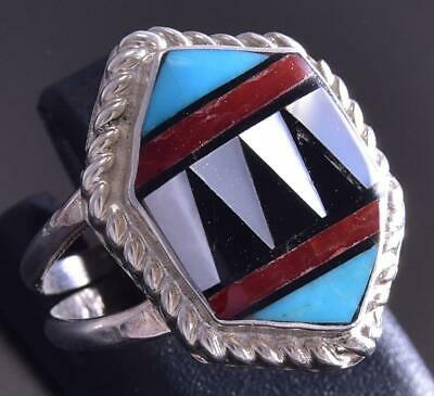 Size 6-1/2 Silver & Turquoise Multistone Zuni Inlay Ring by Ola Eriacho ZG17F