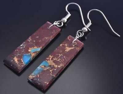 Apple Coral & Turquoise Santo Domingo Rectangular Earrings by Randy Garcia 9F26U