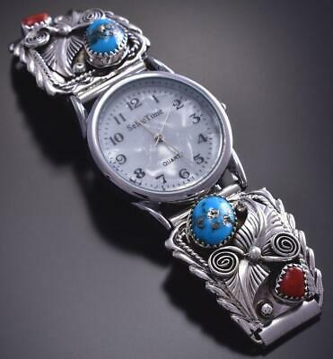 Silver & Sleeping Beauty Turquoise & Coral Navajo Men's Watch by Saunders 9E29Y