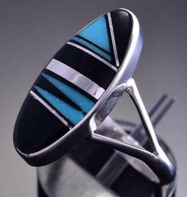 Size 8-1/4 Silver & Turquoise & Jet Navajo Inlay Ring by Johnny Charley 9C29S